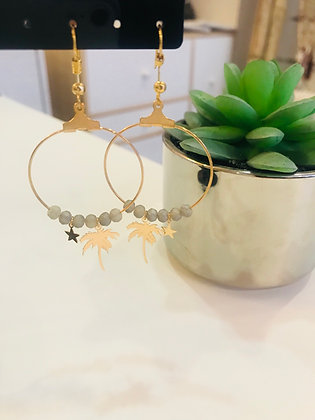 Boucle d'oreilles doré/grise créole palmier