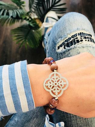 Bracelet bois taupe/gris/violet infini
