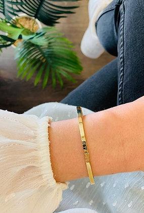 """Bracelet jonc acier doré """"Je t'aime"""""""