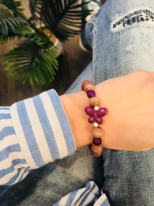 Bracelet bois taupe/violet papillon