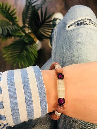 Bracelet bois taupe/gris/violet agathe