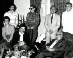 Rainer Thomas, mit v.l. Michèle Chauvy, Reinhard Steeger, Odette Berchemin, Jean Rapillard, Alphonse Antoinat und Jean-Michel Chauvy