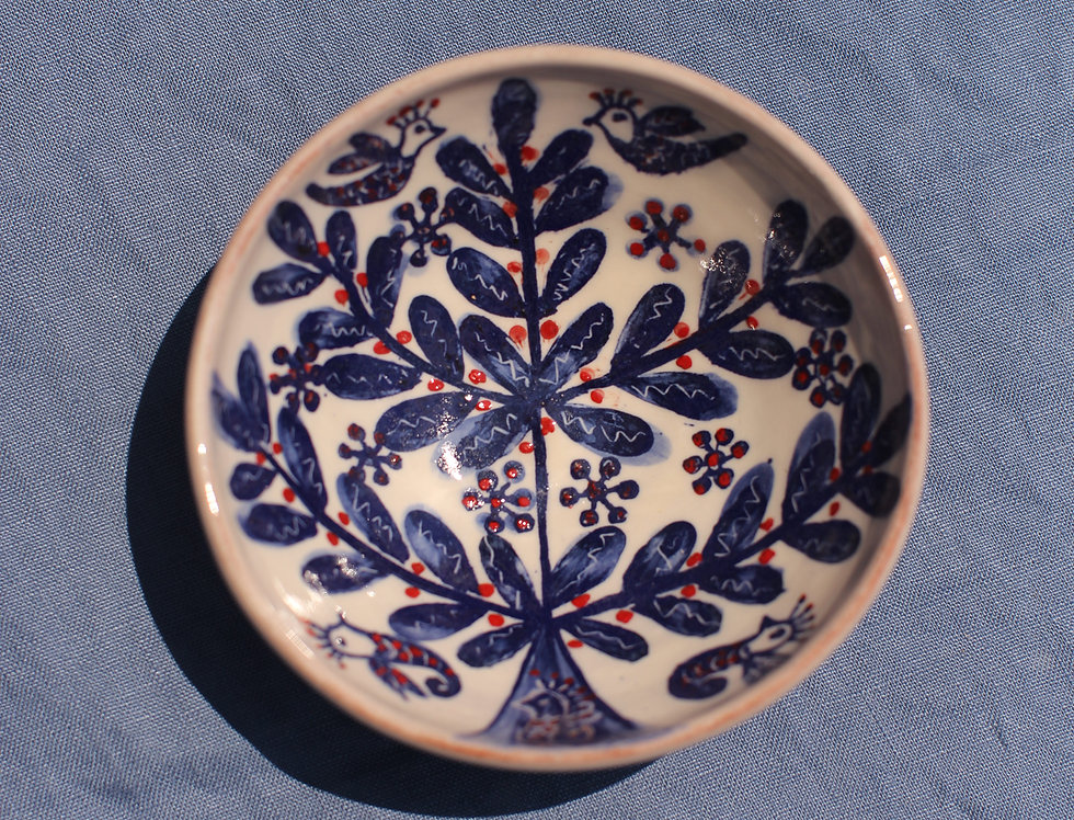 Medium Ceramic Bowl - Aegean Collection - Blue and Red Tree of Life