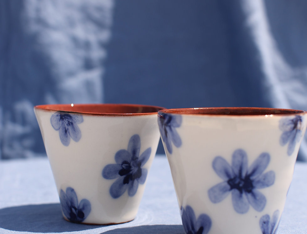 Wine Cup Set - Aegean Collection - Watercolor Floral