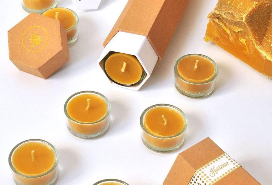 Beeswax Tea Lights Candles – Hortense – box of 8
