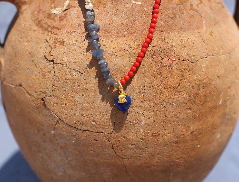 Lapis Kardia Large - Lapis Lazuli and Coral Gold Talisman Necklace