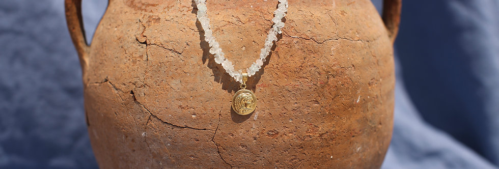 Alexander The Great Charm - Aquamarine and Gold Talisman Necklace