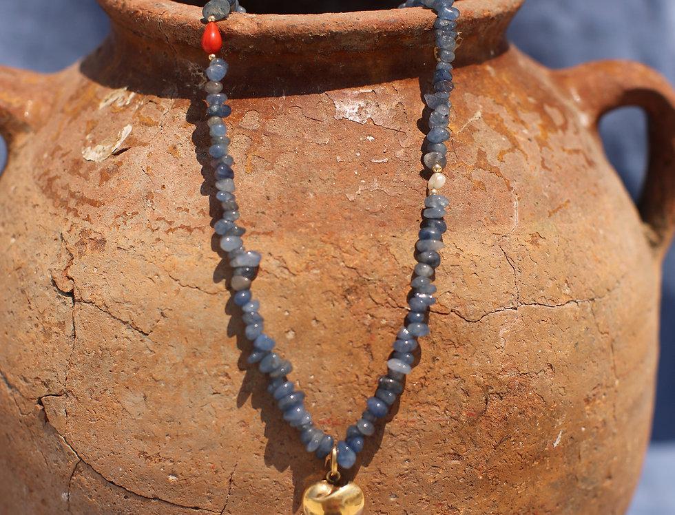 Gold Kardia - Blue Kyanite Gold Talisman Necklace