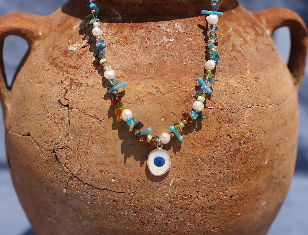 Blue Multi Evil Eye Charm Necklace