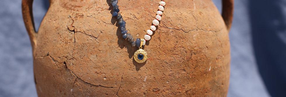Greek Key Mati - Blue Kyanite and Pearl Gold Talisman Necklace
