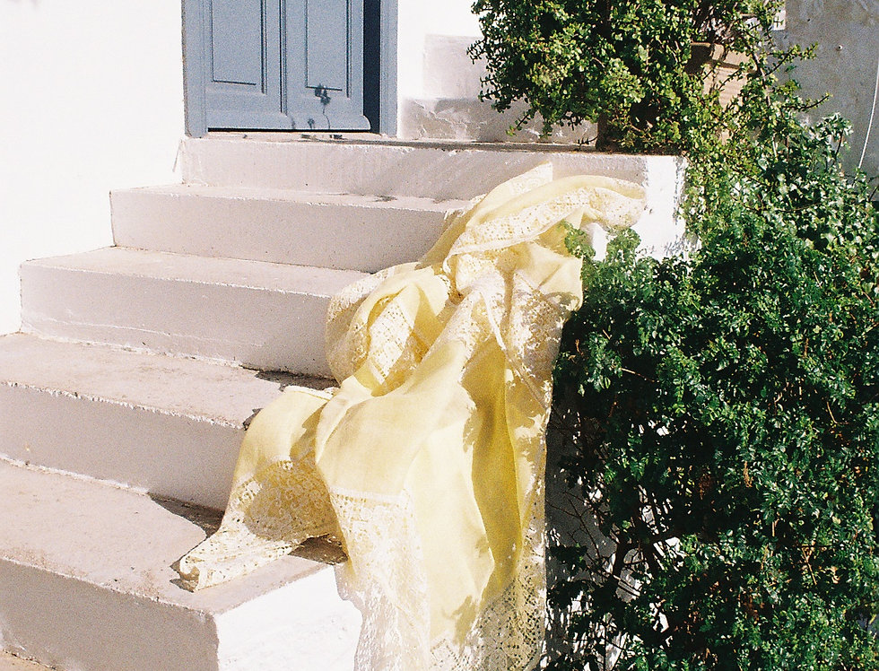 Tablecloth Yellow Embroidered Lace
