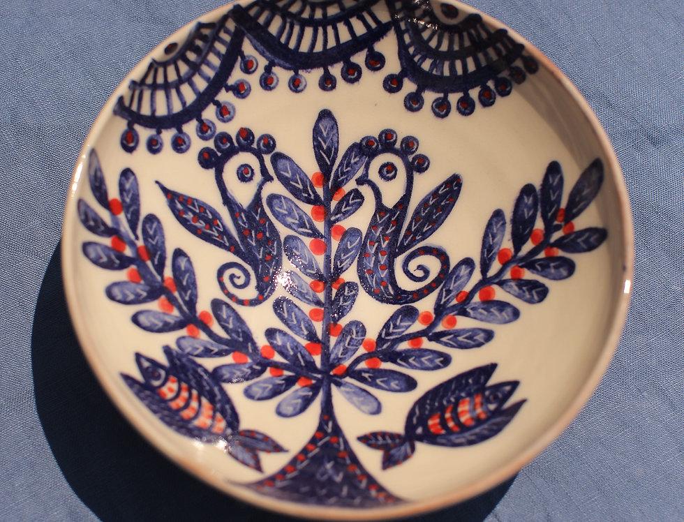 Medium Ceramic Bowl - Aegean Collection -Tree of Life with Birds