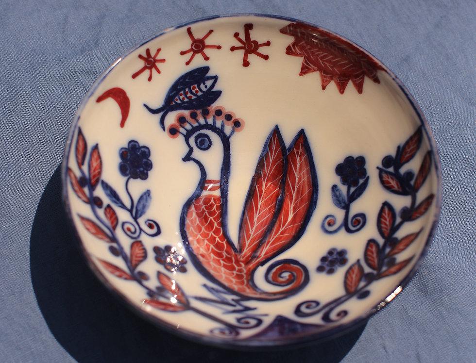 Medium Ceramic Bowl - Aegean Collection - Red Folk Cockerel