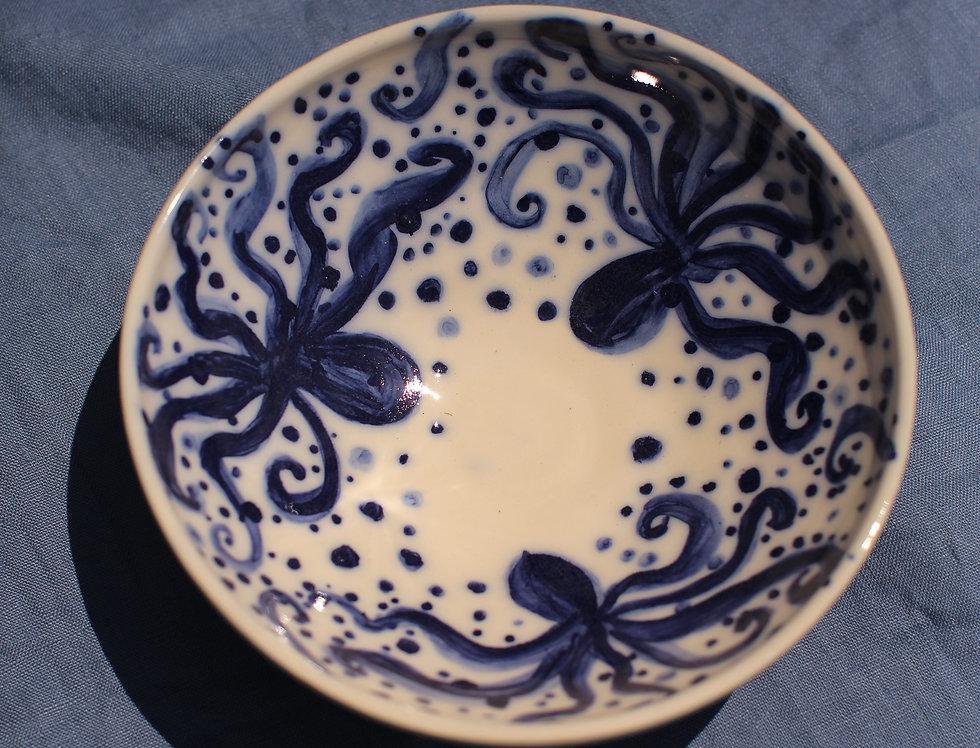 Medium Ceramic Bowl - Aegean Collection - Blue Octopus
