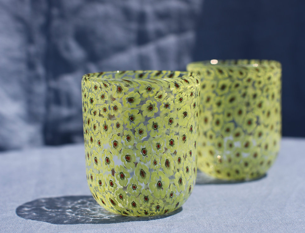 Yellow Murano Floral Glasses Set