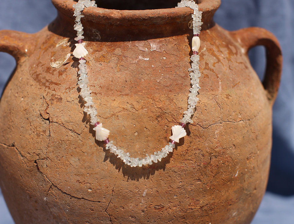 Aquamarine and MOP Seashell Necklace