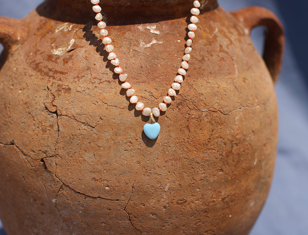 Blue Kardia - Pearl and Gold Talisman Necklace