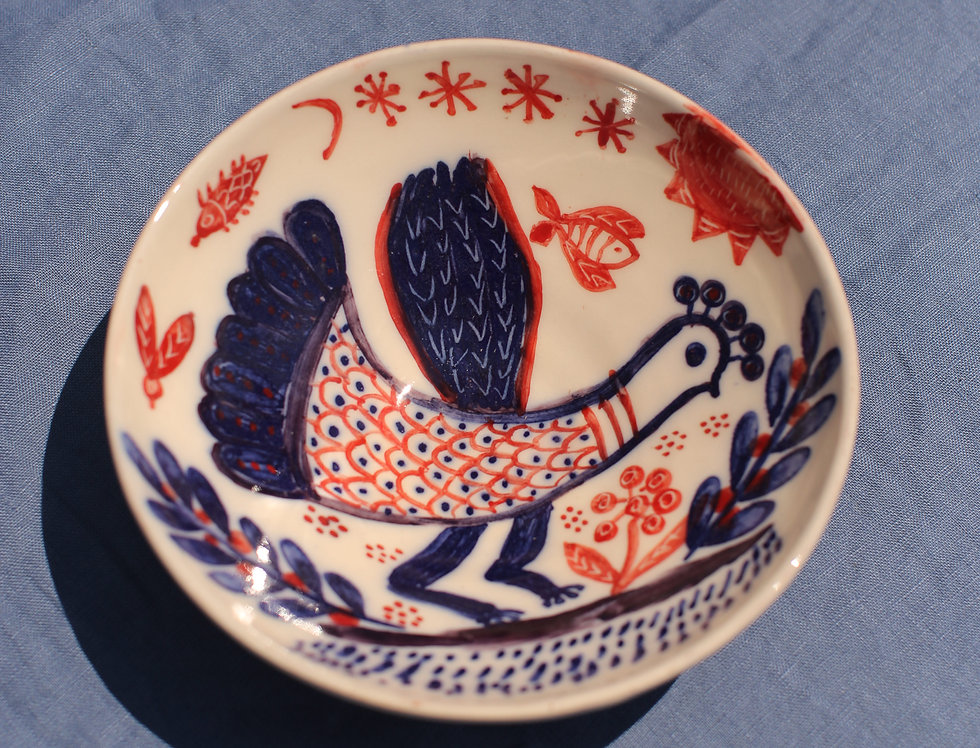 Medium Ceramic Bowl - Aegean Collection - Red and Blue Folk Cockerel