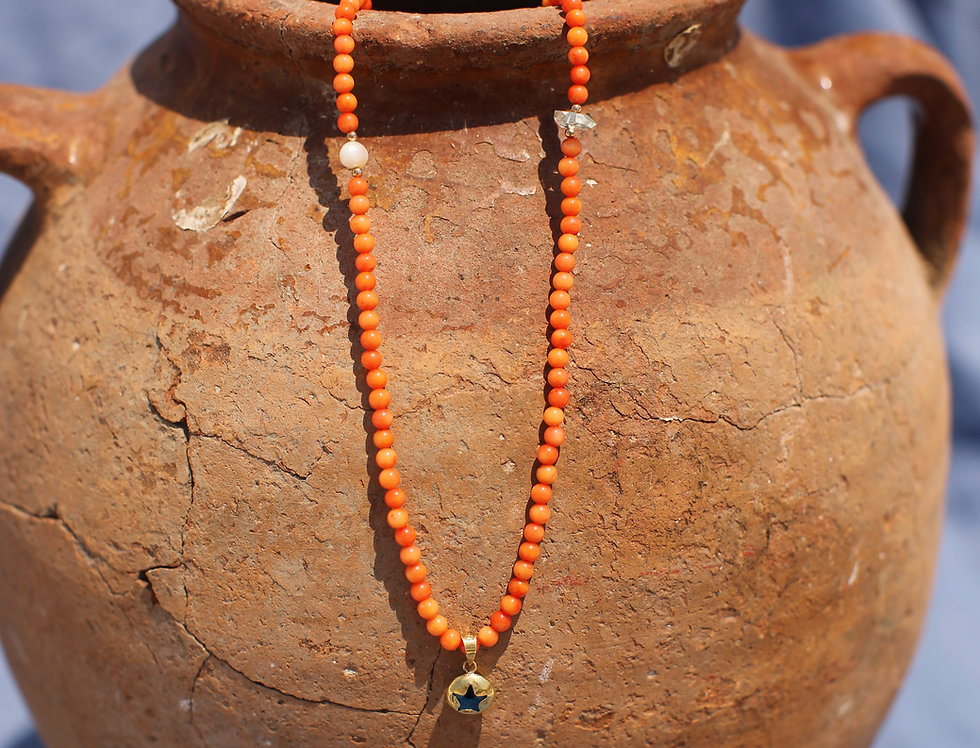 Gold Star Mati - Coral and Gold Talisman Necklace