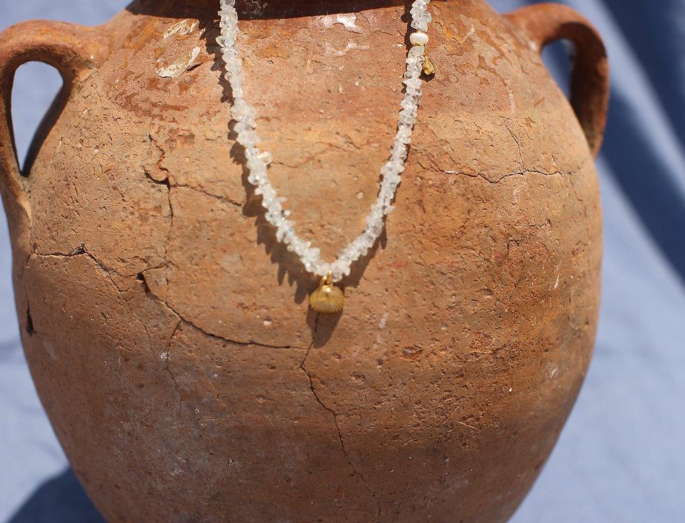La Concha - Aquamarine and Gold Talisman Necklace