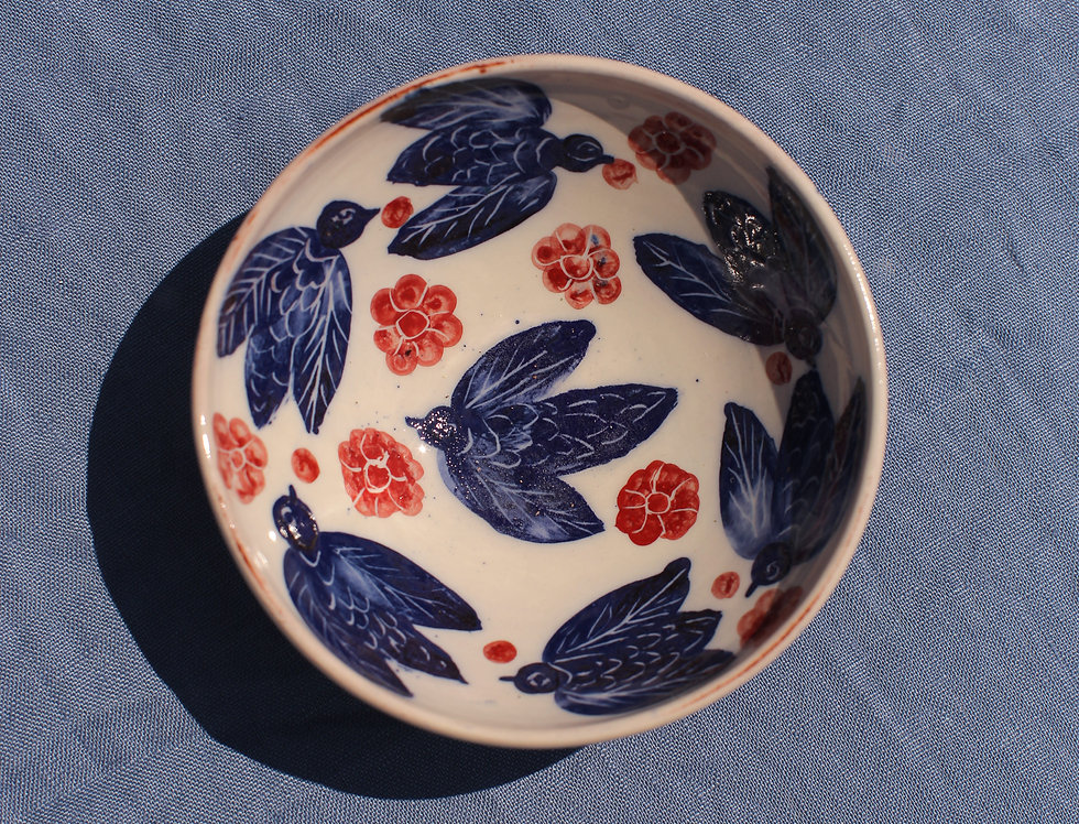 Small Ceramic Bowl - Aegean Collection - Blue Bees and Red Flowers