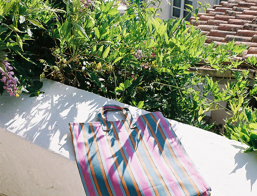 Mercato Bags Pink/Teal Stripe