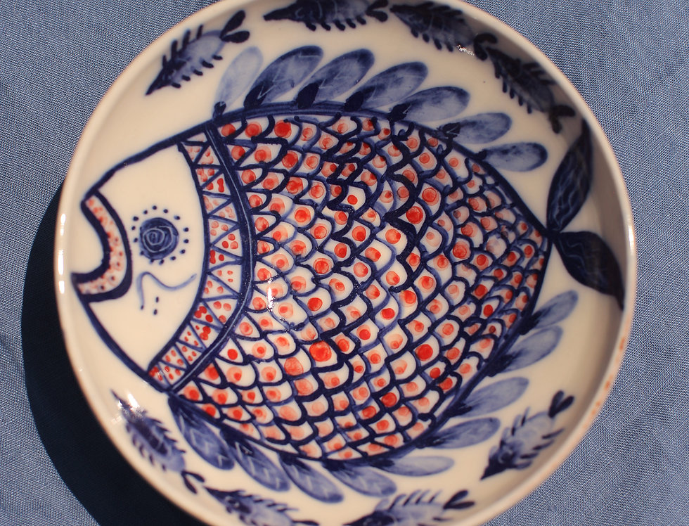 Medium Ceramic Bowl - Aegean Collection - Blue and Red Fish