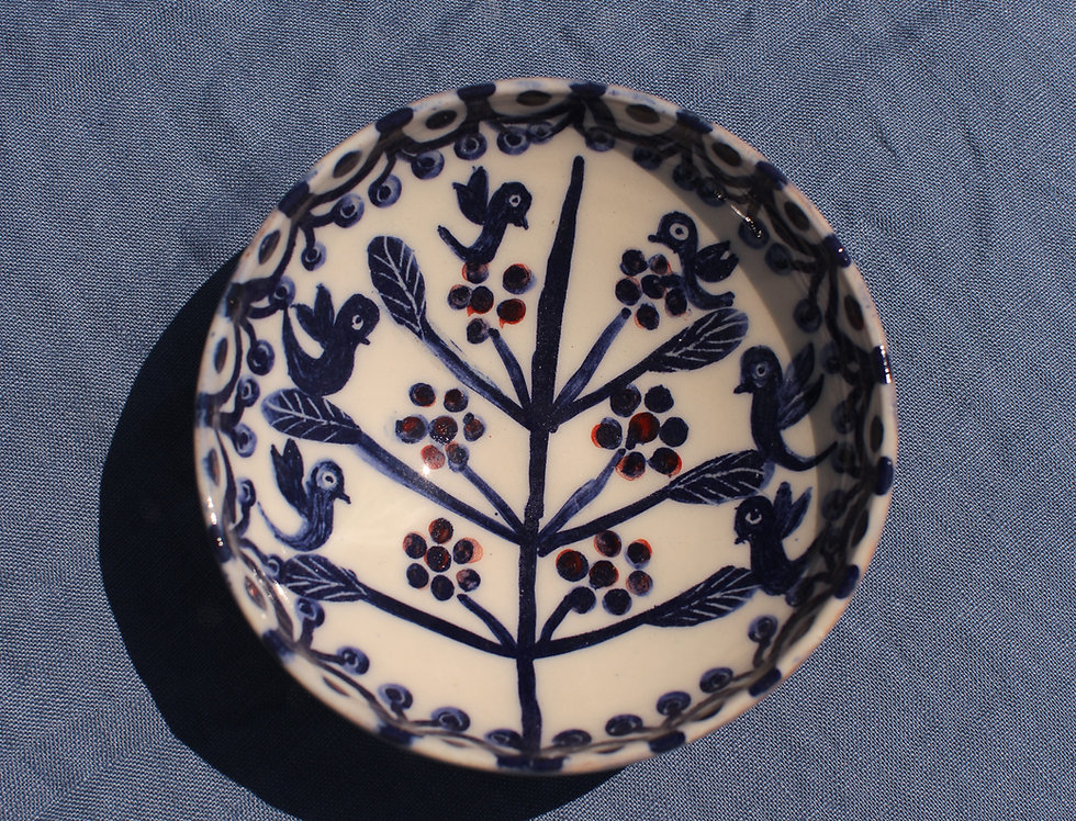 Small Ceramic Bowl - Aegean Collection - Blue Tree of Life with Scalloped Edge