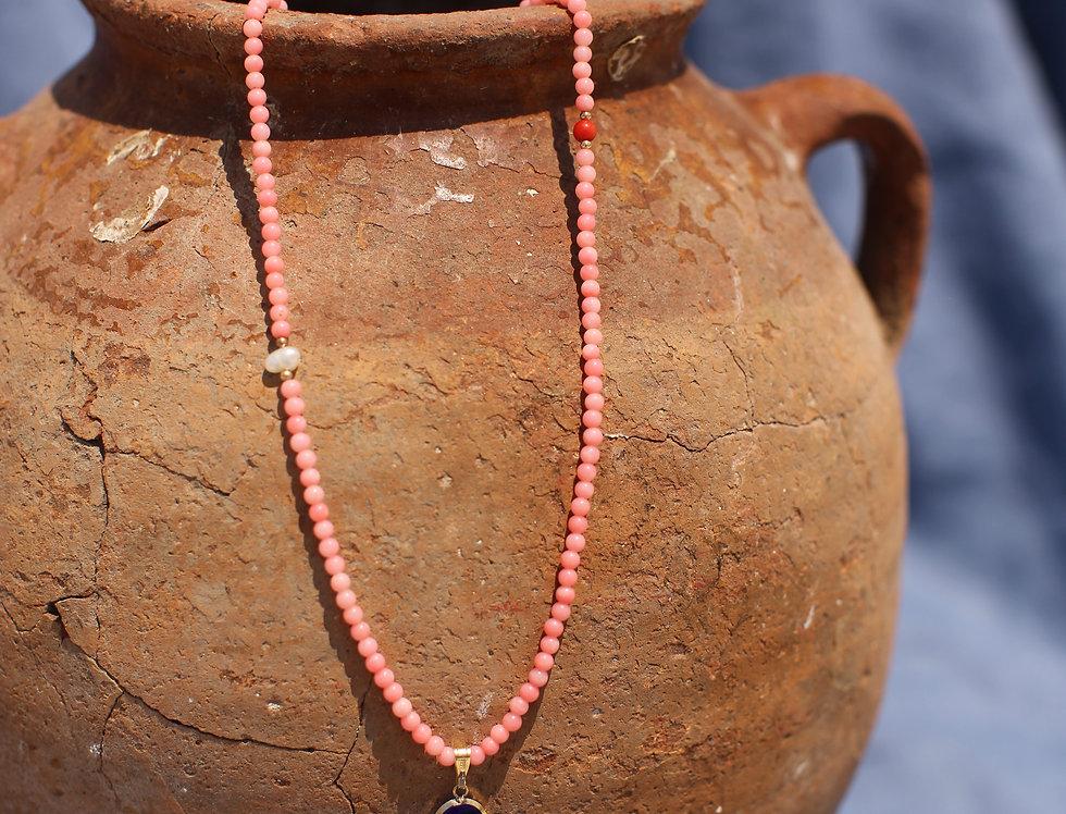 Mediterranean Blue Glass Mati - Coral and Gold Talisman Necklace