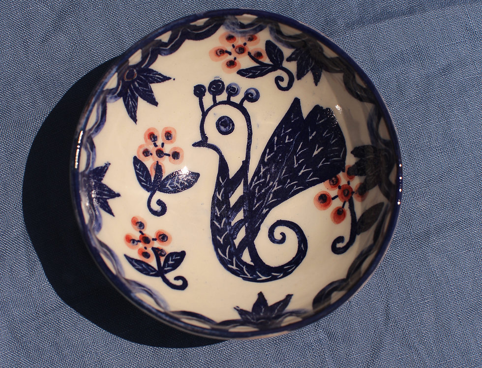 Small Ceramic Bowl - Aegean Collection - Blue and Red Cockerel Folk