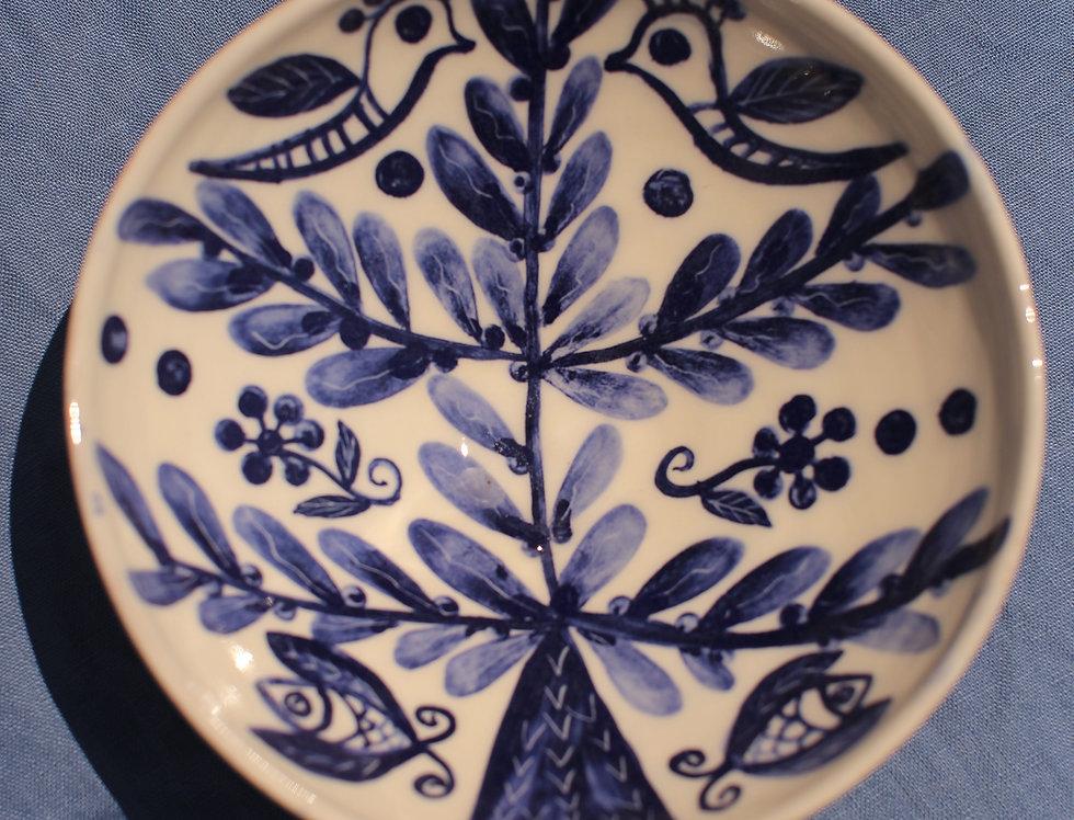 Medium Ceramic Bowl - Aegean Collection - Blue Tree of Life