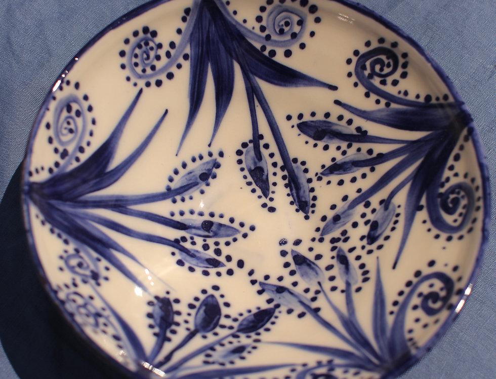 Large Ceramic Bowl - Aegean Collection - Blue Pistil and Vine