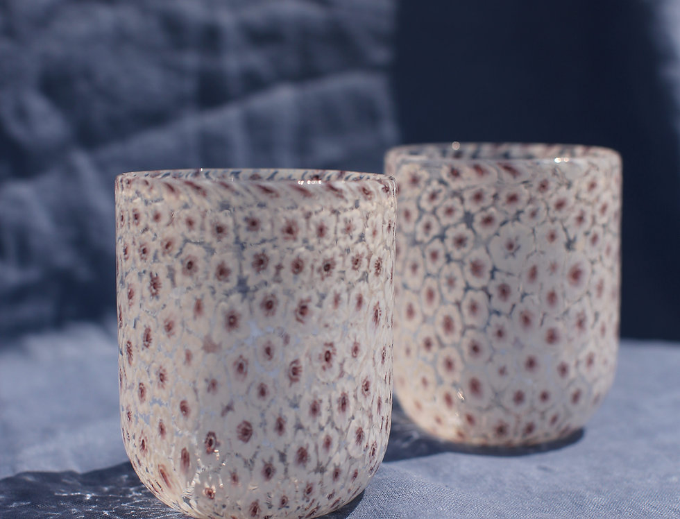 White Murano Floral Glasses Set
