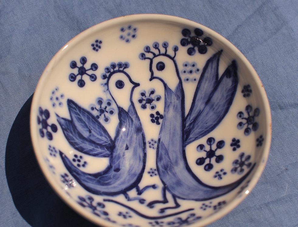 Medium Ceramic Bowl - Aegean Collection - Blue Folk Cockerels