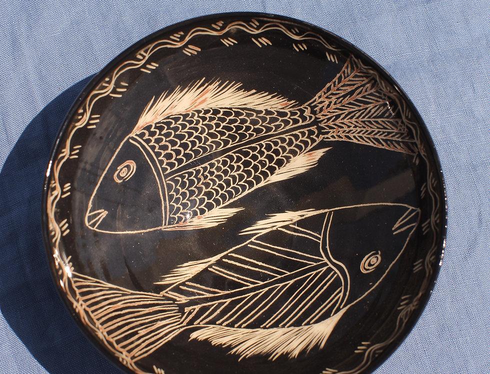 Medium Ceramic Bowl - Nero Collection - Fish Duo