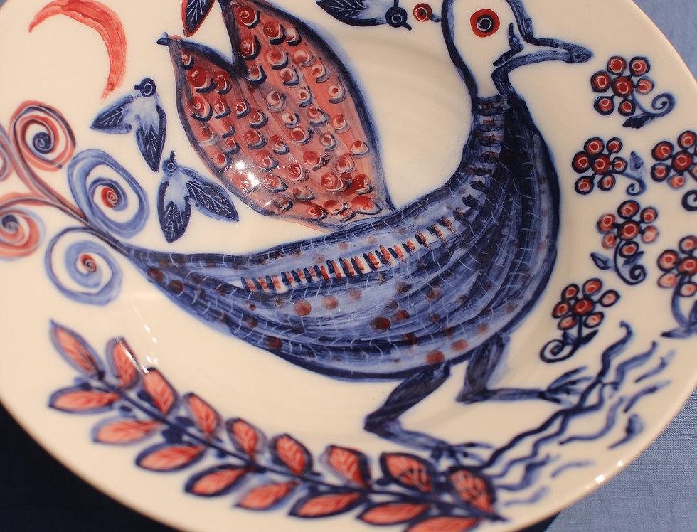 XL Ceramic Bowl - Aegean Collection - Folk Cockerel