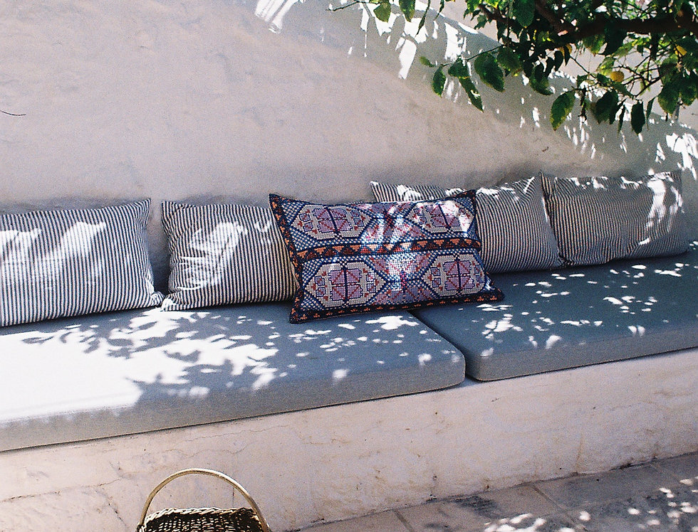 The Athina Blue and PinkEmbroidered Cushion
