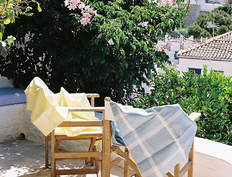 Blue Linen Checkered Tablecloth