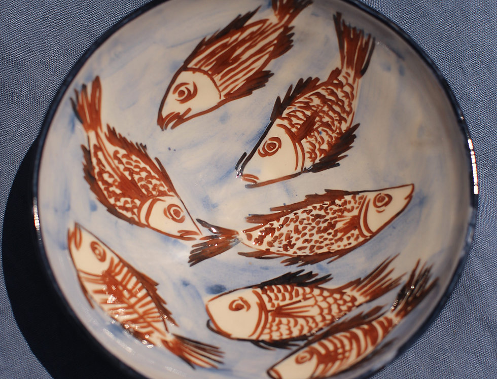 Medium Ceramic Bowl - Aegean Collection - Blue and Brown Fish