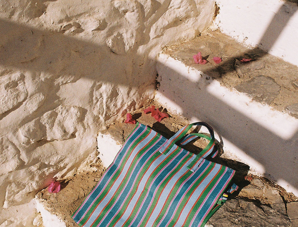 Mercato Bags Blue/Green Stripe
