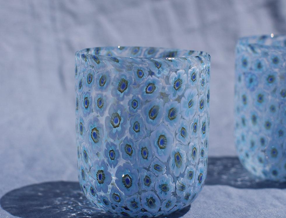 Blue Murano Floral Glasses Set
