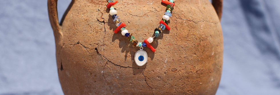 Red Multi Evil Eye Charm Necklace