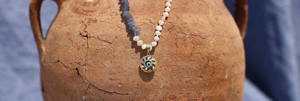 Sun Mati - Blue Kyanite and Pearl Gold Talisman Necklace