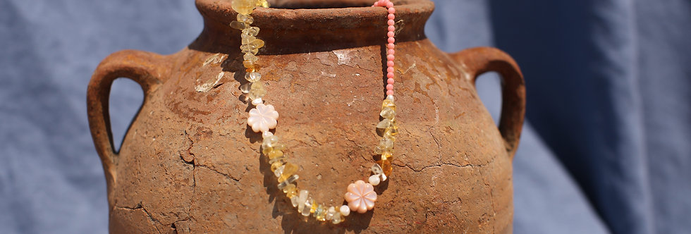 Citrine Florals  - Citrine and Coral Necklace