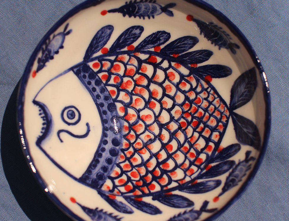 Medium Ceramic Bowl - Aegean Collection - Blue and Red Fish with Trim