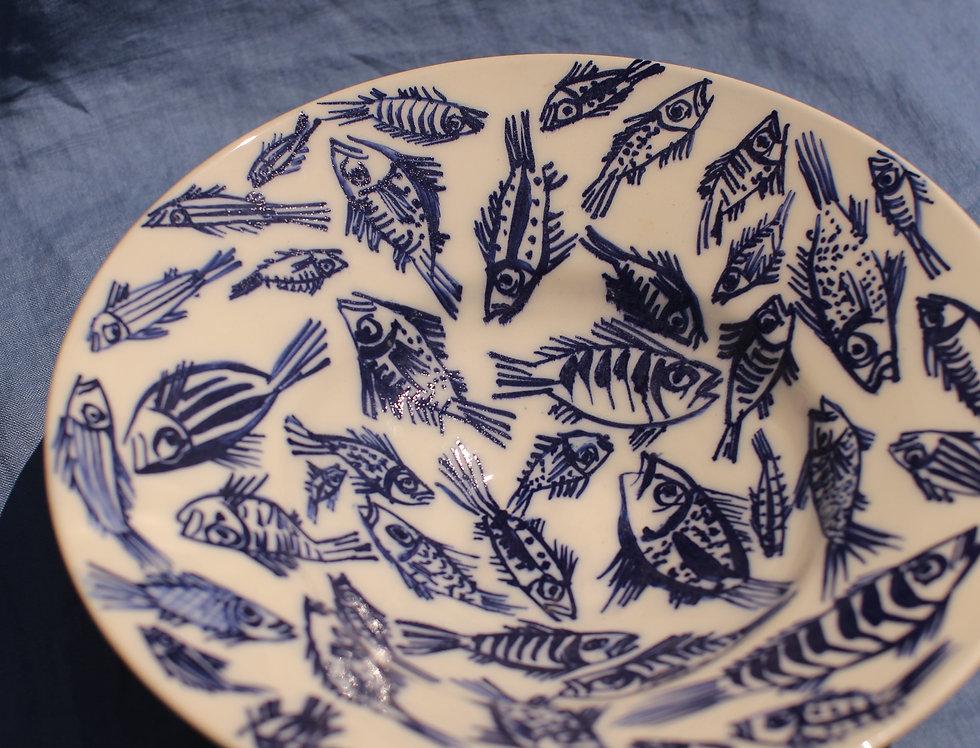 XL Ceramic Bowl - Aegean Collection - Blue School of Fish