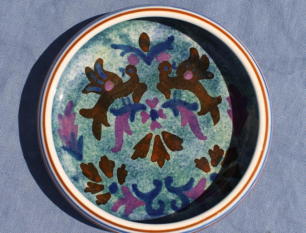 Small Ceramic Bowl - Vintage Folk Design