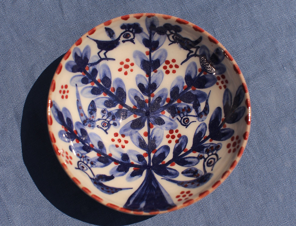 Small Ceramic Bowl - Aegean Collection - Blue Tree of Life with Trim