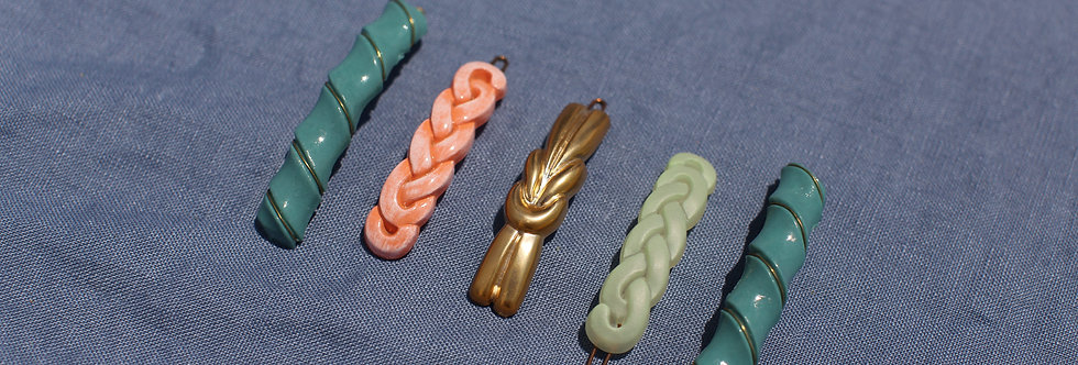 Azzurro - Vintage French Hair Clips - Set of 5