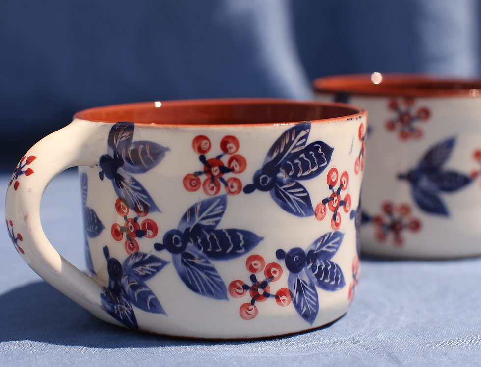 Coffee Mug Set - Aegean Collection - Blue Bees